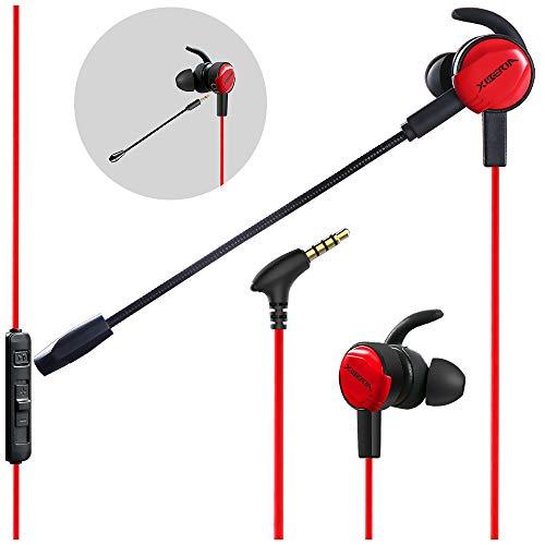 XIBERIA Gaming-Ohrhörer mit Dual-Mikrofon, verkabelt, für Xbox One,PS4, Nintendo Switch, PC, Laptop und Handys, 3,5 mm, Rot