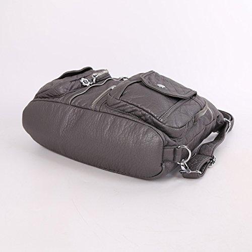 Angelkiss 2 Top Cerniere multi tasche Borse Lavato borse in pelle borse a spalla zaino AK678 Grigio