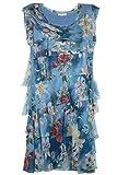 Cara Mia Leichtes Sommerkleid für Damen mit Seide Figurbetont Blau 36 38 40