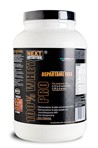 100% WHEY PRO gr 2250 Siero Proteine Gusto Cacao con Glutammina e Vitamine ricche di BCAA senza aspartame