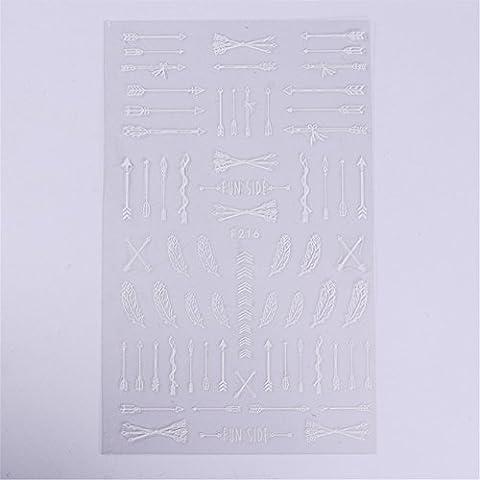 coulorbuttons 1Bogen Pfeil Feder 3D Nail Sticker Selbstklebend Nail-Stamping-Art Aufkleber DIY Dekoration Tools weiß
