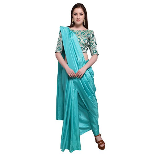 Womanista Synthetic Saree with Blouse Piece (FS9521!_Turquoise Blue!_One Size)