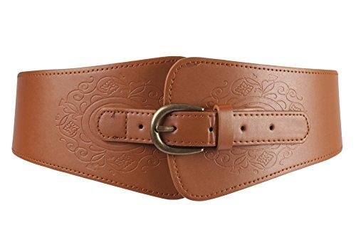 Brown Skinny Belt (BLT069-Ladies Steampunk Waist Band metal Buckle Elasticated Belt in Brown)