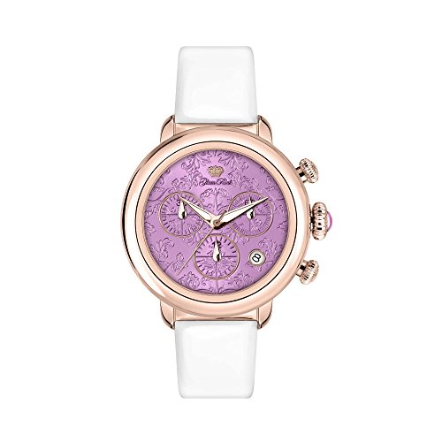 Glam Rock Women's Bal Harbour 40mm White Satin Band Gold Plated Case Quartz Pink Dial Analog Watch GR77108
