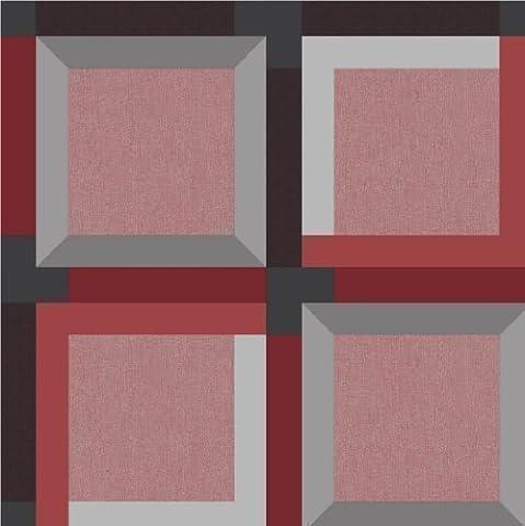 Muriva Wallpaper 3D Cubes Rouge J42410
