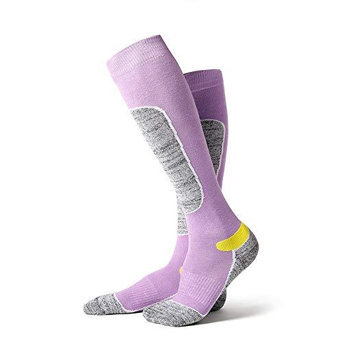 JUN GUANG 2Pcs Lana Esquí Calcetines Térmicos Invierno Calcetines Esquí Calcetines para Esquiar Anti-Bacteriano Resistente Al Olor Ciclismo, Trekking Y Otros Deportes De Invierno (35-38),Purple