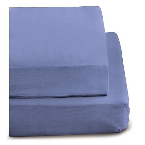 Irisette 0006_ 20_ Mercure 143337Parure de lit en flanelle Drap-housse Bleu foncé 180x 200cm à 200x 200cm