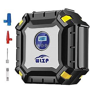 WLZP Luftkompressor, 12V 10A Digitaler Auto Kompressor Auto Luftpumpe tragebar mit 3.3M Stromleitung mit 9 große LED-Leuchten, Für Auto Motorrad Fahrrad Basketball