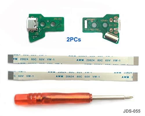 2PCs JDS-055 Replacement Scheda di ricarica Micro USB per PS4 Controller, Porta di ricarica Connettore Adattatore, Presa triangolare, Batteria al litio modulo di caricatore per PlayStation DualShock