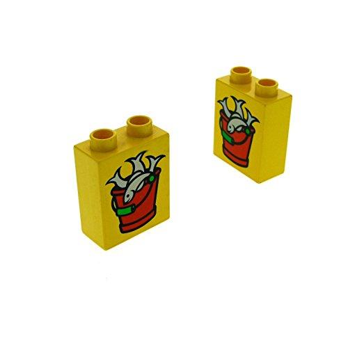 2 x Lego Duplo Motivstein gelb 1x2x2 bedruckt Tier Fisch Eimer Zoo Schiff Bild Bau Stein 4066 pb040