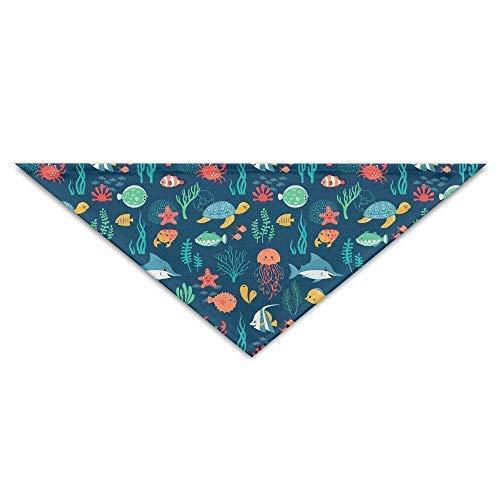 dfegyfr Fish Turtle Jellyfish Dog Triangle Head Scarf Puppy Bandana Collars Neckerchief Bandana Bibs Triangle Head Scarfs ()