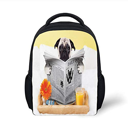 Kids School Backpack Pug,Pug Reading Daily Dog Breakfast in Bed Sunday Family Fun Comedic Image,Pale Brown Yellow Orange Plain Bookbag Travel Daypack White Breakfast Cup