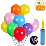 CALSAM Luftballons, Luftballons Pump und Ballon-Klipp, Luftballons bunt Geeignet für alle Arten von Feierlichkeiten - 100 Stück