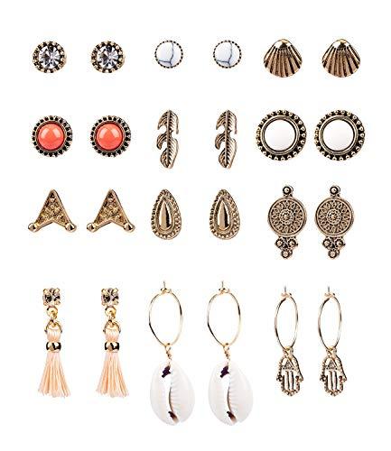 SIX 12er Set Ohrringe im Festival Style, Stecker und Hänger mit Tasseln und Muscheln und Strasssteinen in antikem gold (795-204) - Schmuck Festival