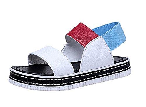 Frau Sommer Plateau-Sandalen weiblichen Studenten Schuhe Farbe Sandalen Elastikband buchstabieren Red