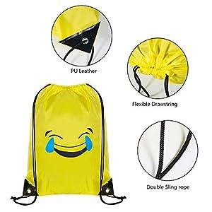 41sn1EHQ9ML. SS300  - Comius Emoji Bolsas de Cuerdas, 6 Pack Mochilas Petate Emoticonos, Emoji Cordón Mochila Bolsas Regalo Cumpleaños Deporte…