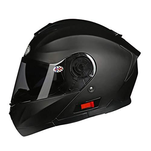 WeeLion Gesamt Motorradhelm DOT-Zertifizierung, Rennradhelm mit Sonnenblende - Jet Doppelspiegel-Klappmotorradhelm (M, L, XL, XXL), schwarz,M - 668 Jet Schwarz