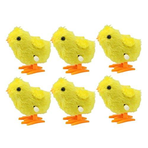 TOYMYTOY Wind-up Springendes Huhn | Karikatur Lehrreich Tierspielzeug Gastgeschenke Spielzeug für Kinder (Gelb) - 6St