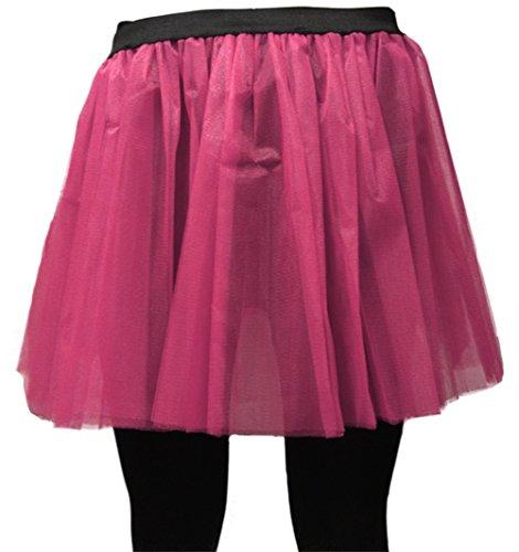 Kostüm Leggings Fischnetz - A-Express Damen Lange 36cm Tütü Rock Neon Tutu Netz Tüllrock 3 Lagen Petticoat für verrücktes Kleid Party Kostüm - (Rosa, Größe 46-54)