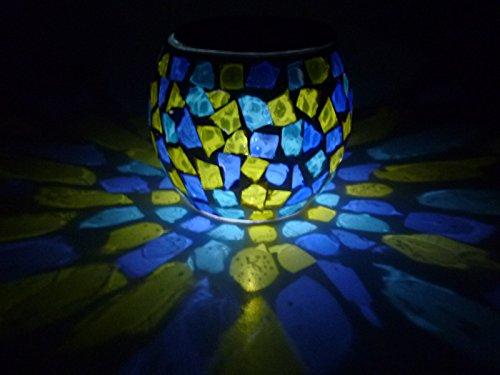 """2 x wunderschöne LED Solar Windlichter """"Mosaik"""" türkis-blau-gelb, stimmungsvolles Licht für Ihren Garten, Balkon, Terrasse"""