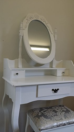IRIS WHITE DRESSING TABLE SET DRESSER WITH ADJUSTABLE OVAL MIRROR AND STOOL, BEDROOM MAKE UP FURNITURE