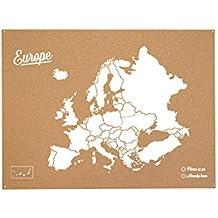 Miss Wood Woody Map XL - Mapa del mundo de corcho con diseño Europa , color blanco