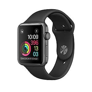 Apple MP062MP/A Smartwatch Series 2, 42mm Aluminium Schutzhülle mit Sport Band space grau/schwarz
