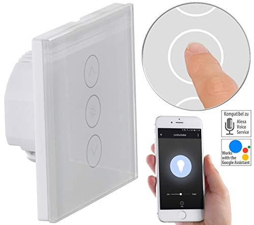 Luminea Home Control WLAN Lichtschalter: Touch-Lichtschalter & Dimmer, komp. zu Amazon Alexa & Google Assistant (Dimmer LED)
