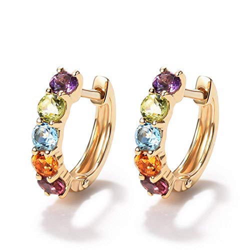 14 Karat 585 Gold Creolen Huggies Ohrringe mit Amethyst Peridot Topas Citrin Granat für Damen Mädchen - Durchmesser: 12 mm