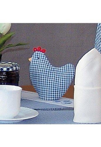 Küche und mehr - Eierwärmer, blau-weiß kariert (9/12 cm)