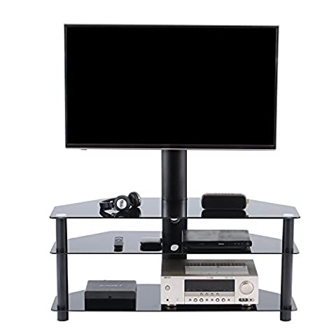 TAVR Universal TV Entertainment Center,Media Towers TV Furniture, Floor Corner 3-in-1 TV Stands with Swivel Height Adjustable TV Mount Bracket for 32 to 65 inch LCD LED OLED QLED TVs and Glass Media Storage Shelf Black ,TW1002