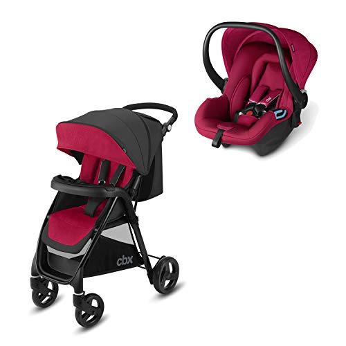 cbx 2-in-1 Reisesystem, Kinderwagen Misu TS + Babyschale Shima, Inkl. Regenverdeck und Adapter für Babyschale, Ab Geburt, Crunchy Red