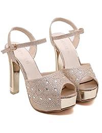 Zapatos De Boda 13 cm Tacón De Estilete 4 cm Plataforma Peep Toe Hebilla Tobillo Correas UE Tamaño 34-40 , gold , 36