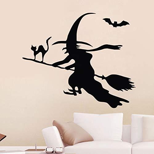 Yyoutop Halloween Wandaufkleber Kinderzimmer Fledermaus Hexe auf dem Besen Wandtattoos Vinyl Kunst Aufkleber Katze Tiere Wal 49x59cm