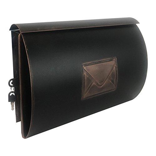 Mojawo Wandbriefkasten Briefkasten Postkasten mit Zeitungsfach Front Post Wandmontage Kupfer Antik-Look Tür Links