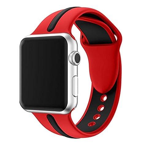Ihee inspirée l'usure très confortable Sports Bracelet en silicone Strap Band pour Apple Watch Série 1/238mm nouveaux Mode 1 M Red