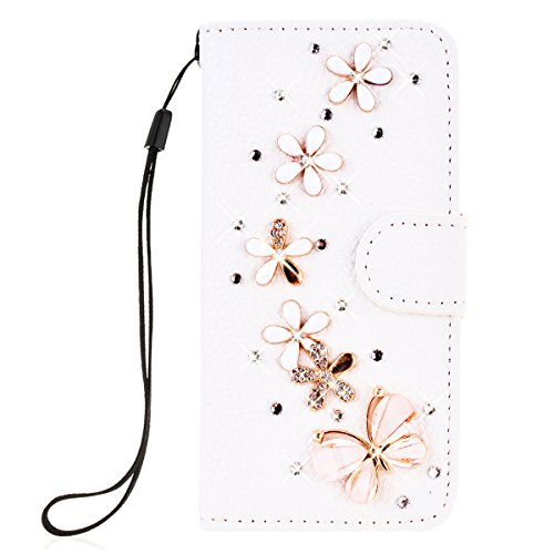 SMARTLEGEND PU Pelle Cover per Huawei Y6 / Y6 Scale,Interno Rigida Leather Wallet Stand Case per Porta Carte di Credito, Disegno di Cristallo Bling Strass Diamond Protettiva Portafoglio Custodia Bianco Caso con Cordoncino - Fiori e Farfalle