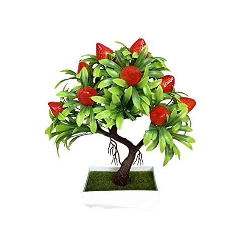 HEIRAO Künstliche Blumen Topf Gefälschte Erdbeer Topfpflanzen für Hochzeit Home Table Top Ornamente DIY Dekoration