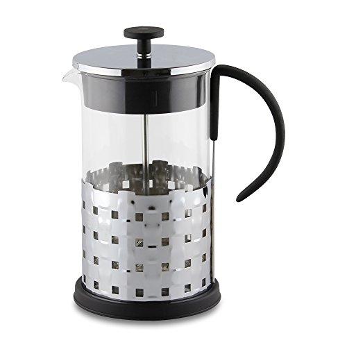 Café Cuillère 3 Tasses en Bambou Style en Verre et Acier Inoxydable Cafetière avec Base résistant à la Chaleur et poignée Souple, Verre, Acier Inoxydable, 3 Cup (350ml)