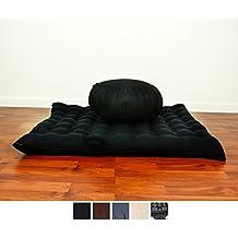 Set de Meditación Cojín Zafu, Colchoneta Zabuton , 76x72x25 cm, Capok, Negro