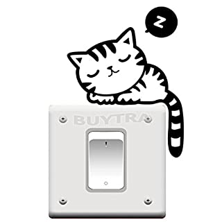 BESTIM INCUK Cat Nap Pet Light Switch Funny Wall Decal Vinyl Stickers Black