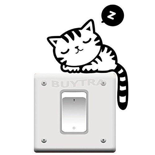 P Pics Cute Von (personalizedco Cute Cat Nap Hundelichtschalter Lustiger Wandtattoo Vinyl-Aufkleber Schwarz)