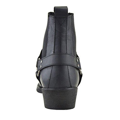 Kick Footwear - Herren Cowboy Ankle Boots Aus Leder Biker-Boots Aus Leder Toe Black - 2