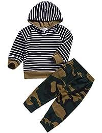 JUTOO Infant Baby Girls Boy Striped Tops con Capucha Pantalones de Camuflaje  Conjuntos Ropa Trajes( da62c2bf6c3a