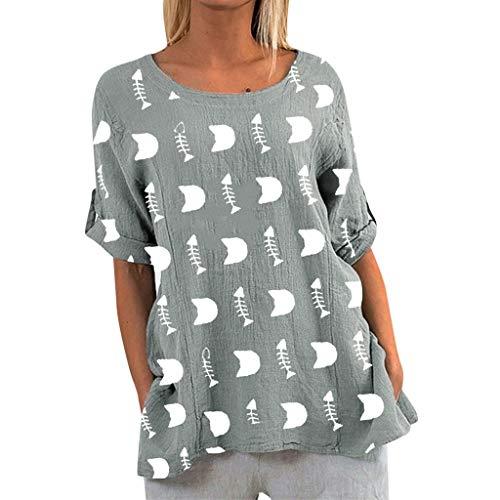 Damen Shirts Casual Lustige Katze Fisch Print Tops Rundhals Bluse HalbäRmel Lose Sommer Mode Strand Tägliche Tunika Grau 2XL -