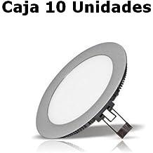 Homepluss - Caja 10 Downlight LED extraplanos 20W Color Plata, Luz 4200K 1600 Lúmen 120 LEDS, Corte 200mm.