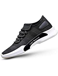 Footlodge Men's Black Lite Mesh Casual Sports Shoes