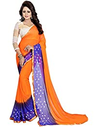 Ishin Women's Chiffon Saree With Blouse Piece (Swaya-Bandhanilaceorange_Green & Blue)