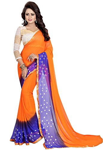 Ishin Poly Chiffon Orange & Purple Bandhani Print With Lace Printed With Rassel Net Blouse Fabric Party Wear Wedding Wear Casual Wear Festive Wear Bollywood New Collection Latest Design Trendy Women's Saree/Sari  available at amazon for Rs.424