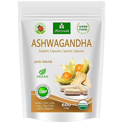 Ashwagandha Kapseln 600mg oder Tabletten 1000mg - reines Naturprodukt in Spitzenqualität - Schlafbeere, Winterkirsche, Indischer Ginseng (120 Kapseln) -